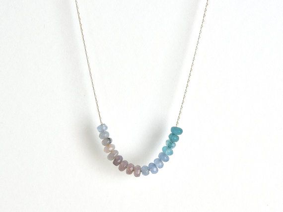 Blue Jade necklace-Silver Crystal necklace-Beaded necklace-Dainty delicate necklace-Minimalist necklace-Bridesmaids-Bridal jewelry-For women  ► BEFORE