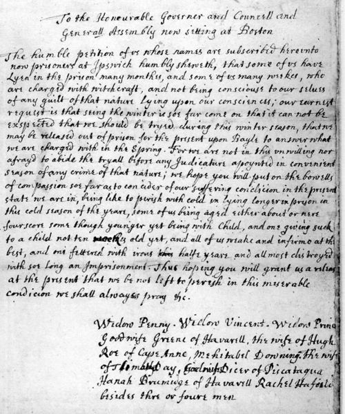 Petition for Bail From Accused Witches held in the Ipswich jail, 1692. #salemwitchtrials