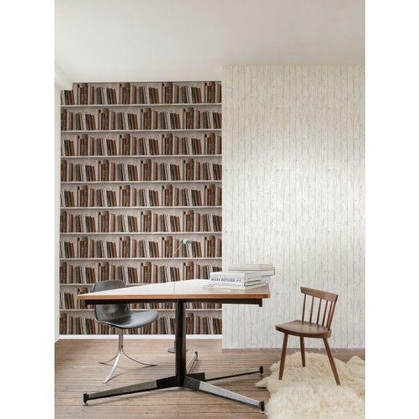 Papier peint Bibliothèque marro - collection Authentic 2 de Montecolino : Papier peint chambre, Cuisine, entrée, pièce à vivre, Salle de bain à motifs