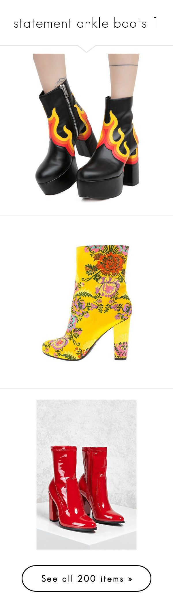 """""""statement ankle boots 1"""" by softmeat ❤ liked on Polyvore featuring shoes, boots, chunky heel platform shoes, platform boots, zipper boots, platform shoes, current mood, ankle booties, embellished booties and side zip boots"""
