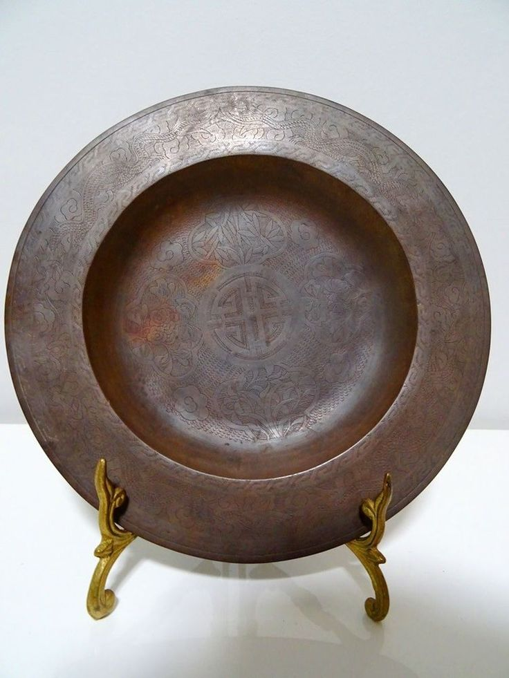 LU symbol 19thC CHINESE ART MONASTERY DISH bronze copper TEMPLE folk religion #UNKNOWN