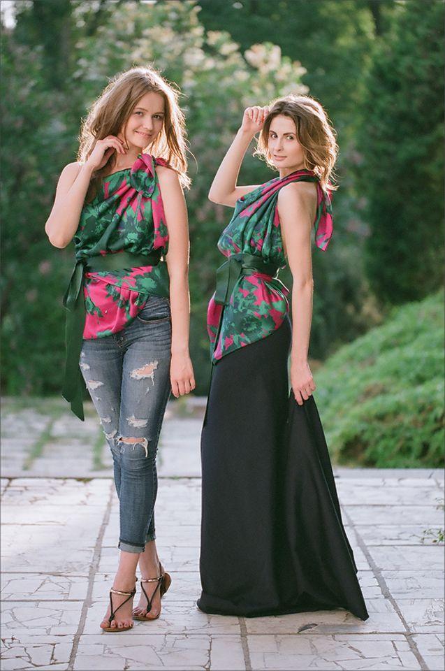 Шелковый топ с лентами UONA.RU  #шелк #лето #длинное платье # туника #стильно #мода #Москва