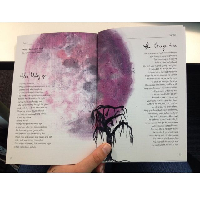 My design for 'The Swine' magazine. Paintings, hand drawn typography and layout by me!