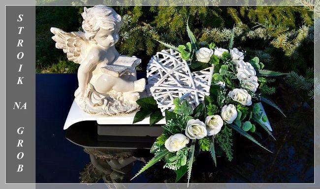 Aniol Zamyslony Serce Stroik Na Grob Cmentarz 6961422630 Allegro Pl Floral Fabric Flowers Floral Wreath