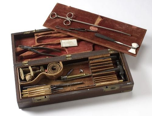 Civil War-era Surgeon's Kit  In fitted mahogany case with 19 ebony or bone handled surgical tools and above inscription on brass escutcheon inset in lid, interior of case marked Otto & Reynders Surgl. Insts. 58 Chatham St., N.Y.