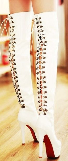 Sexy White Thigh High Boots #laceuphighheelboots