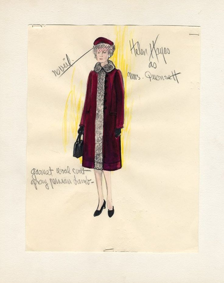 564: 2 Edith Head sketches - Helen Hayes in Airport