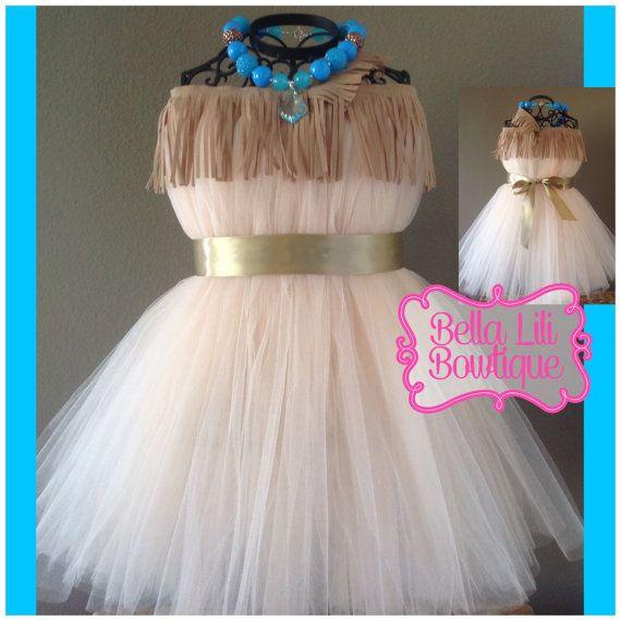 Pocahontas Inspired Native Princess Tutu Dress Costume 6mo-4t, Birthday Dress, Toddler Halloween Costumes