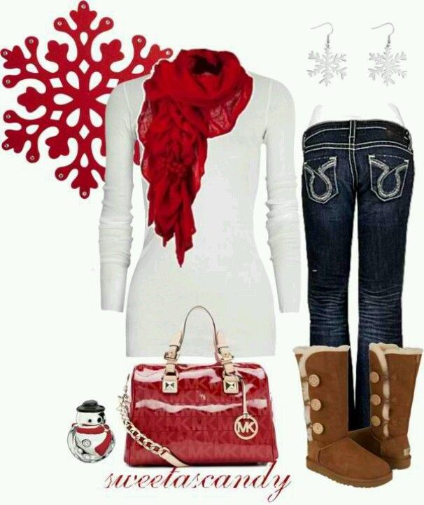 I like all and the cute earings :) Adorable! This would be perfect for Christmas morning  ((*Looooove* the boots;)  I will be getting those from my hubby... I mean SANTA... this year for Christmas!;) lol))