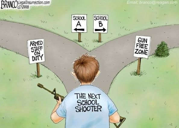 "As a kid, knowing what I do now, I'd feel a lot safer in an armed school than be a sitting duck in a ""safe space"", because I know what one a malicious person is going to target!"