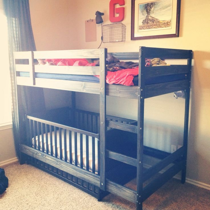 @thebeemom this is what i saw :) Loft Bed Over Crib | Boys room progress shot. Bunk bed with crib underneath.