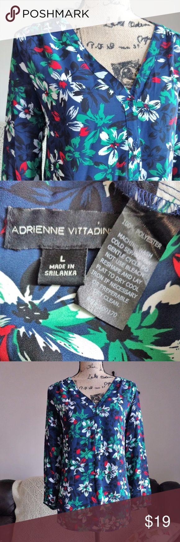 Floral Adrienne Vittadini Blouse size L VERY gently pre-loved Adrienne Vittadini bold floral top. No holes, flaws, or stains.  SUPER fast same day or next business day shipping! Adrienne Vittadini Tops