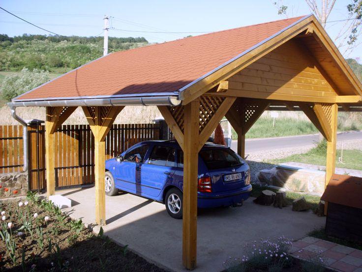 garaj deschis din lemn