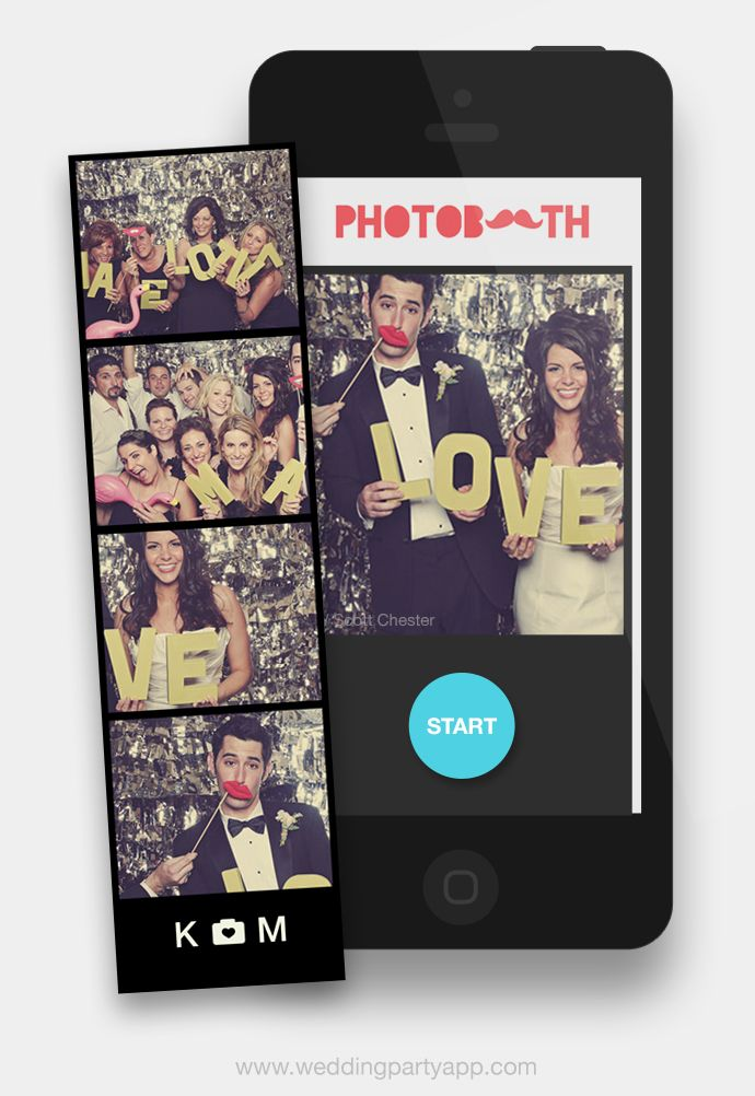 DIY your wedding photo booth for free! Wedding Party makes it easy to have a photo booth at your wedding. Get a bonus set of downloadable photo booth props!