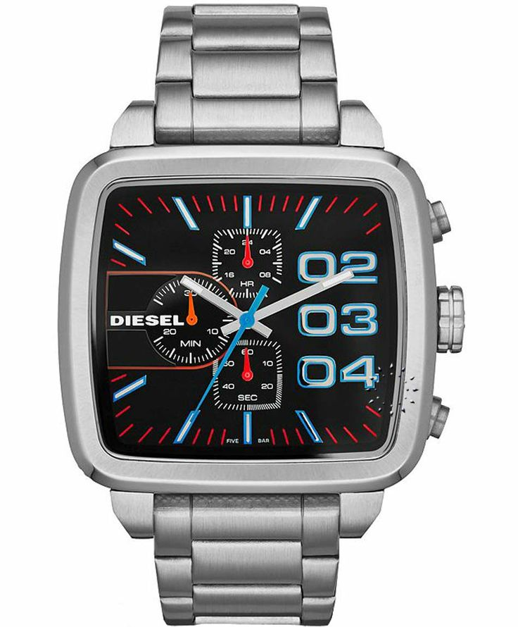 DIESEL Square Franchise Chrono Stainless Steel Bracelet Η τιμή μας: 225€ http://www.oroloi.gr/product_info.php?products_id=35325