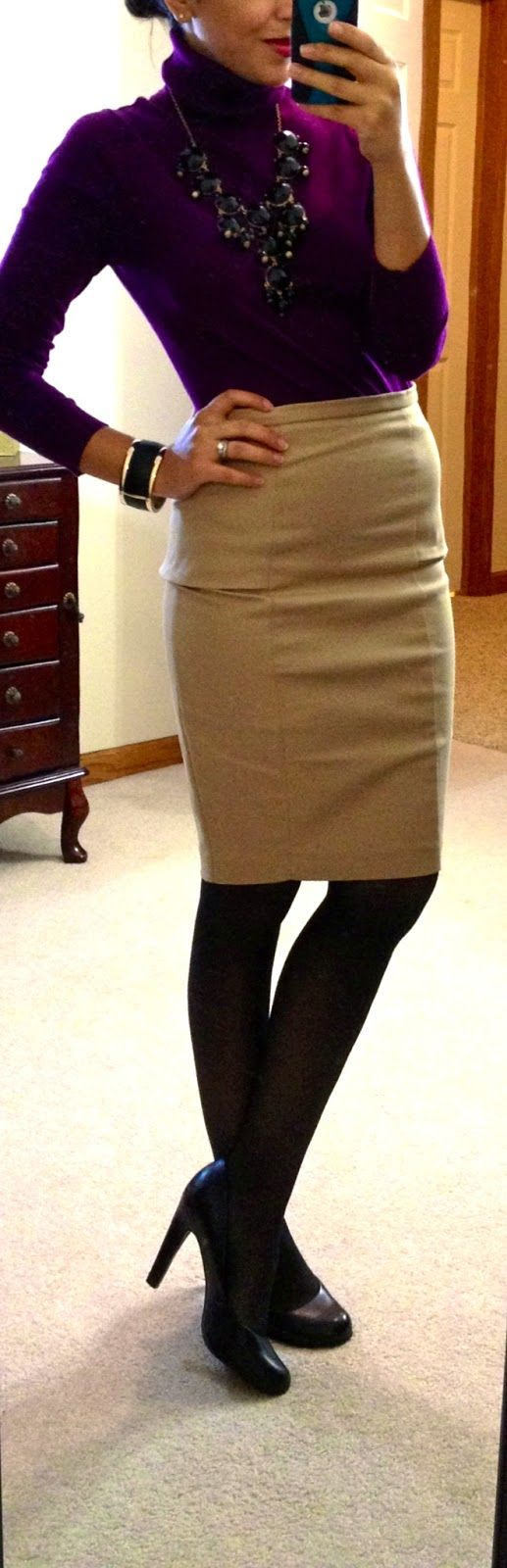 Turtle neck, Zara pencil skirt, Jessica Simpson pumps, black bubble necklace via eBay, cuff via F21