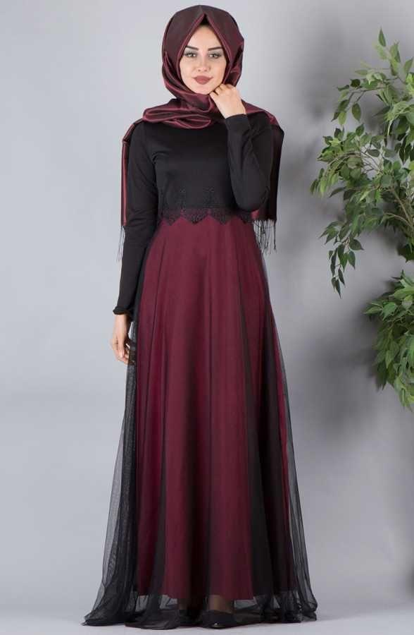 b9c5305331ceb Dantelli Tesettür Abiye Elbise Modelleri   Tesettür   Elbise ...