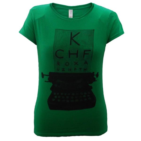Ladies Typewriter T-Shirt (Irish Green)