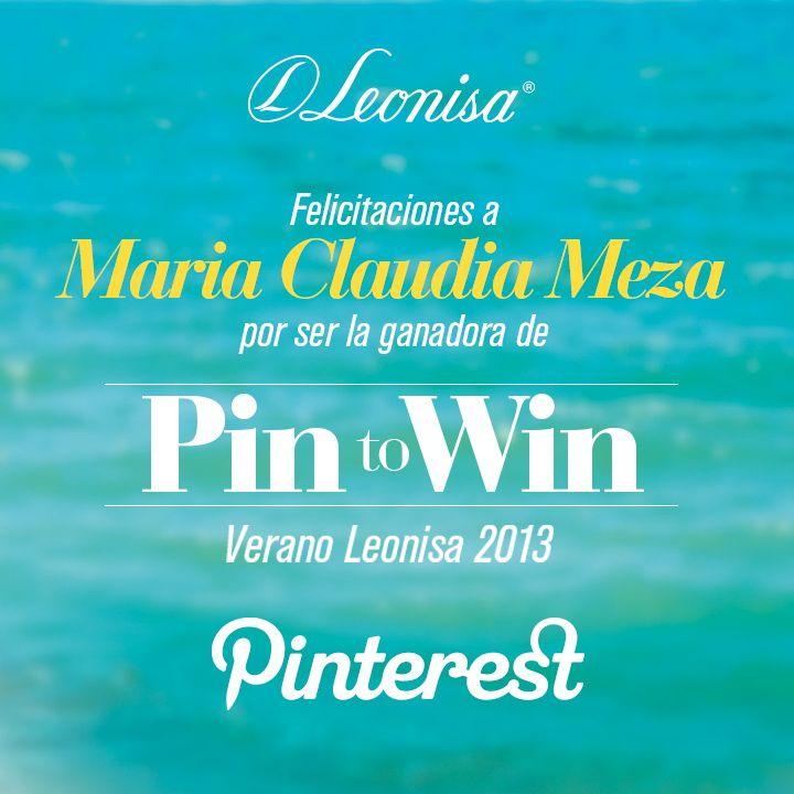 """Felicitamos a nuestra ganadora del concurso """"Verano Leonisa 2013"""" en Pinterest: Maria Claudia Meza  http://www.pinterest.com/mariaclaudiamez/ Para concretar la entrega del premio, la invitamos a contactarnos a través de un mensaje interno en nuestra fan page de Leonisa en Facebook: https://www.facebook.com/LeonisaSiesmujerlatina"""