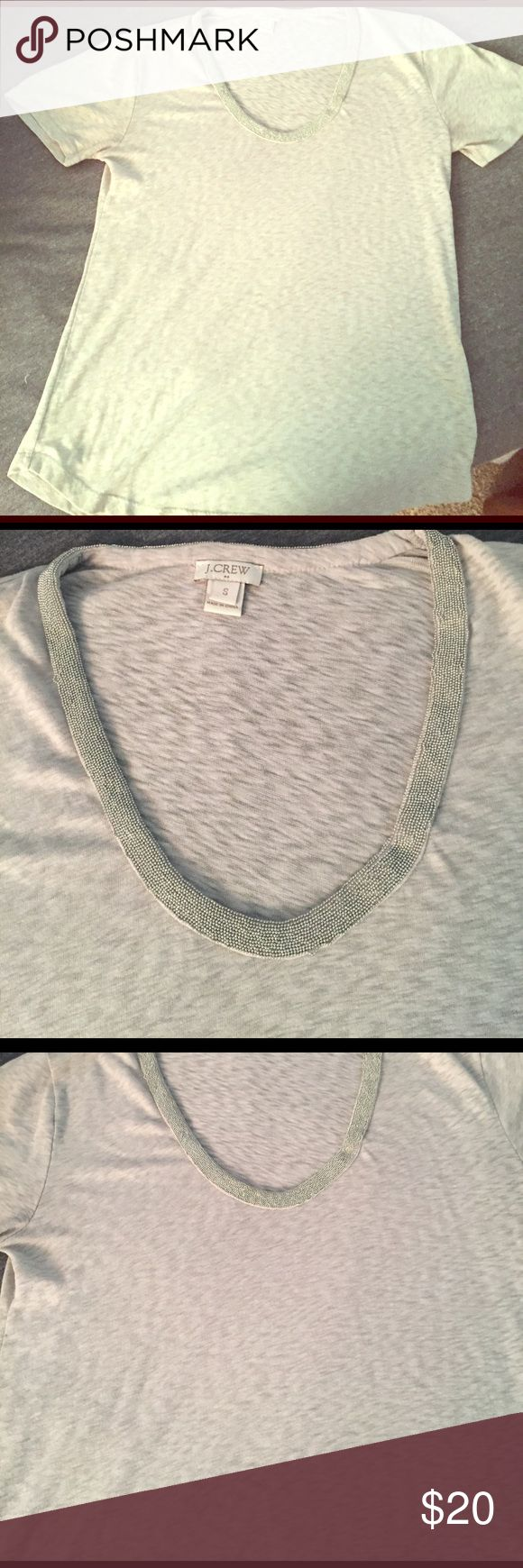 J. Crew Women's Small Embellished Tee Short sleeve tee from J. Cole. Worn only once! Silver metallic beading around the neckline. J. Crew Tops Tees - Short Sleeve