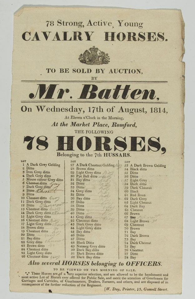 Auction notice, the sale of cavalry horses of the 7th (Queen's Own) Light Dragoons, Market Place, Romford, 17 August 1814