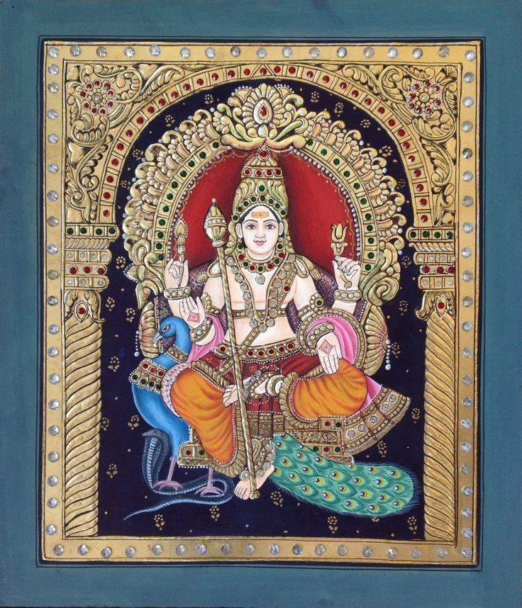 Murugan, tanjore painting style