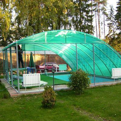 навес из поликарбоната для бассейна на даче фото