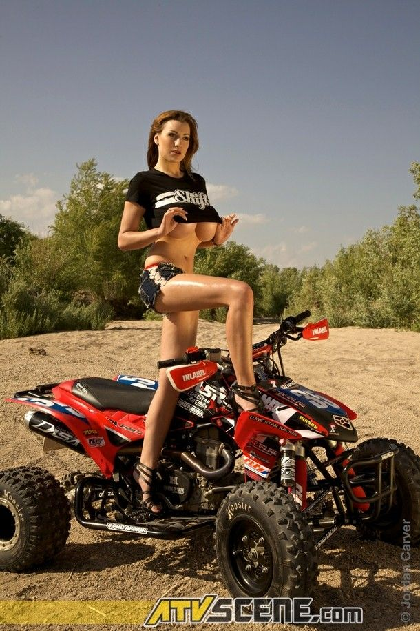 Charlotte springer getting topless on the quad bike