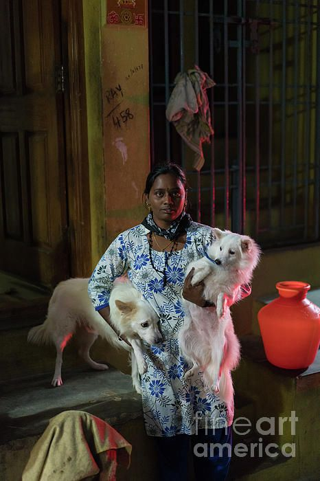 Indian woman and her dogs.  Photography by Mike Reid