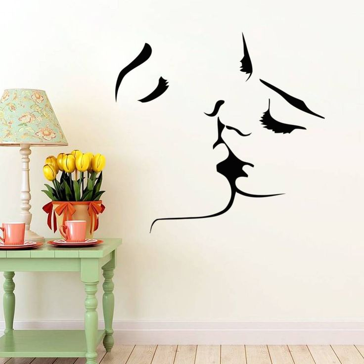 Beso pegatinas de pared amante de la decoración de la pared del dormitorio casero calcomanía pegatinas románticos en Banggood