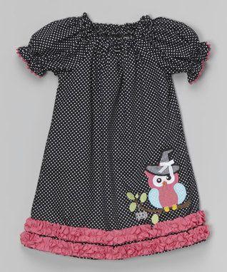 Black Halloween Owl Puff-Sleeve Dress - Infant & Girls