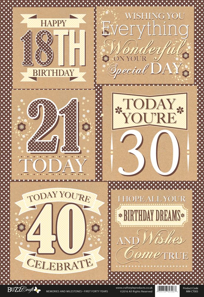 Buzzcraft Memories and Milestones occasions die cut toppers - Female Birthday Celebrations - 18 to 40