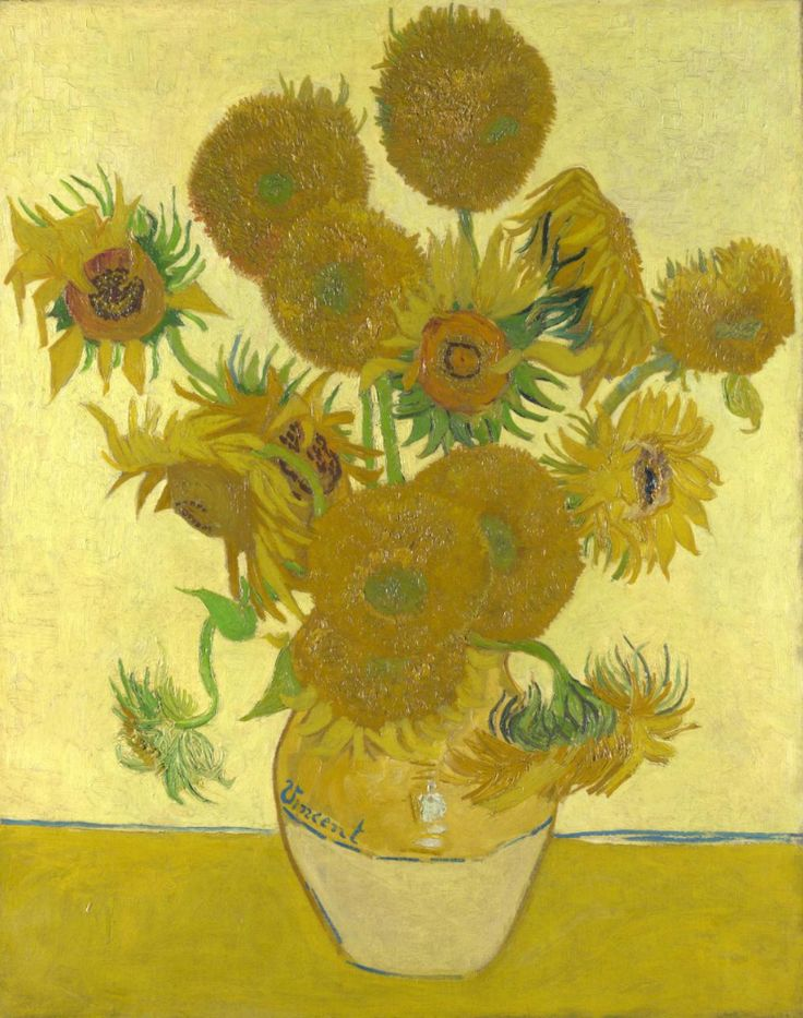 Vincent van Gogh (1853-1890), 1888, Sunflowers, Oil on canvas 92.1 x 73 cm  National Gallery London Van Gogh intended to decorate Gauguin's room with these paintings in the so-called Yellow House that he rented in Arles in the South of France. He and Gauguin worked there together between October and December 1888.