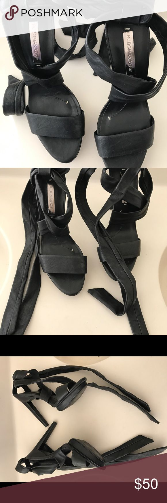 """Beautiful Black Tie Up BCBGMaxAria Sandals Beautiful BCBGMaxazria  Tie Up Heels in excellent preowned condition. Please visit my closet and view my  listings. There are more styles and sizes. Also contact me if you have any additional questions. Thanks.   Heel:5"""" Size:8.5 BCBGMaxAzria Shoes Heels"""