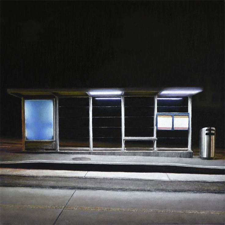Christoph Eberle   Hyperrealistic paintings   Tram stop, 2014, 40 × 40 cm, oil on canvas