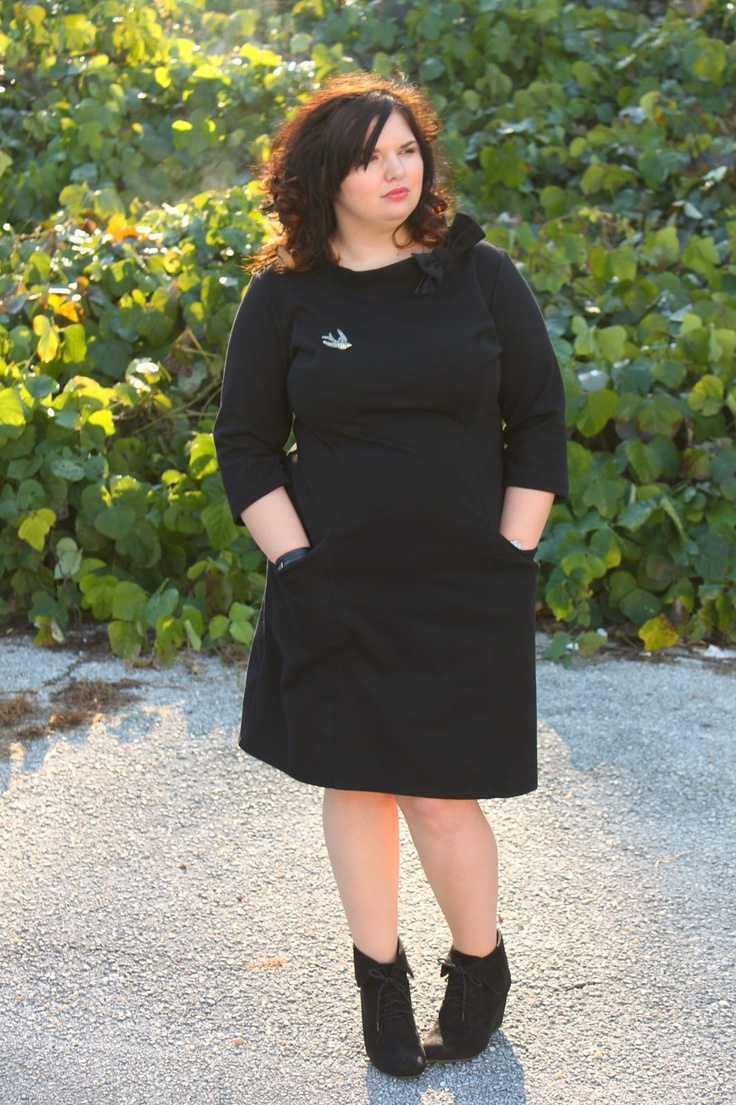 Hems for Her Trendy Plus Size Fashion for Women-  Eshakti bow dress - pop of color somewhere but YES