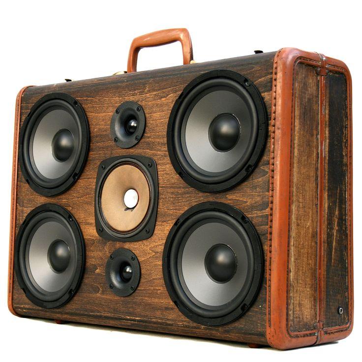 200 Watt BoomCase - BoomBox Vintage Case Small Portable Speaker Bluetooth Classic Bass Made California wireless Best Samsonite Bassbox Teal