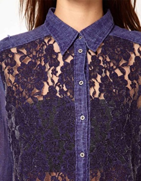 Diesel Denim Shirt With Lace Front