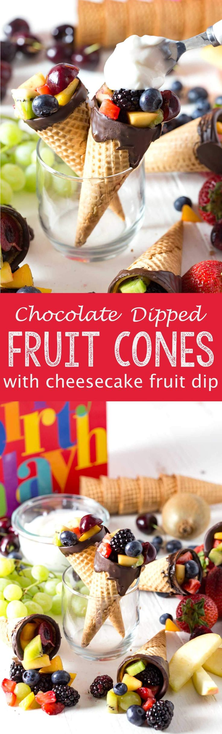 Chocolate dipped fruit cones with a cheesecake fruit dip that is light, fluffy, and delicious! This is a summer recipe you can't pass up. Make this dessert for your next summer party or as a fun treat for your family.