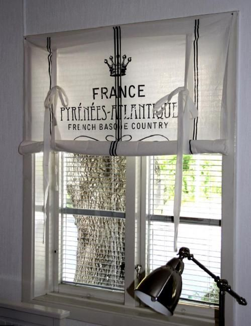 curtain-french farm style.. I would love a curtain like this in my laundry room.