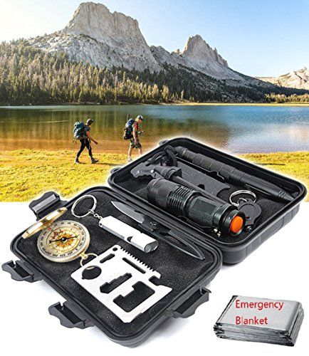 Emergency Survival Gear Kit 10 in 1 Outdoor Survival Tool EDC with Fire Starter Flashlight Whistle Compass for Camping Fishing Kit Travel Wild Adventure Earthquake Birthday Mens Christmas Gift >>> Visit the image link more details.-It is an affiliate link to Amazon. #ChristmasGift
