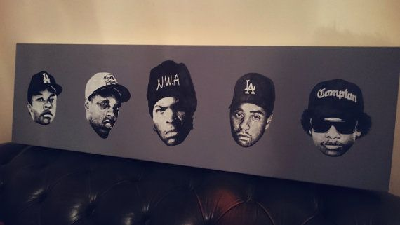 'Straight Outta Compton' Listing for limited edition Giclee canvas prints of my original N.W.A pop art painting. Approx 100 x 30cm Giclee stretched Canvas Print Limited to 100 pieces  Painting features all members of the 80s/90s iconic hip hop band: Ice Cube, Dr Dre, DJ Yella, MC Ren and Eazy-E.  Each print will be signed with their own limited edition number.  Available exclusively through Etsy.  FB: https://www.facebook.com/iansalmonart  Inst: @iansalmonart