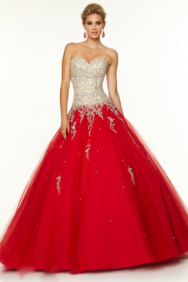 Qince Dress Red Strapless