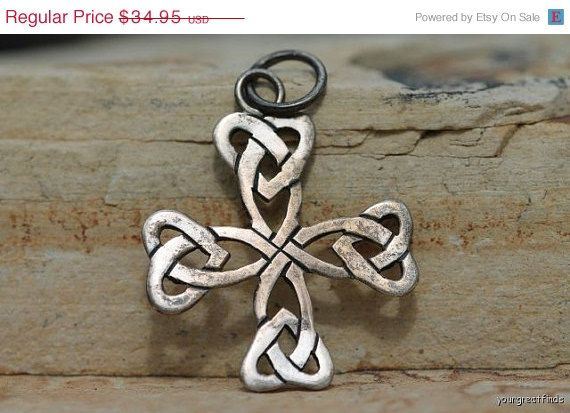 Big Sale Vintage Hand Wrought 925 Sterling SIlver Openwork Maltese Cross Pendant or Charm