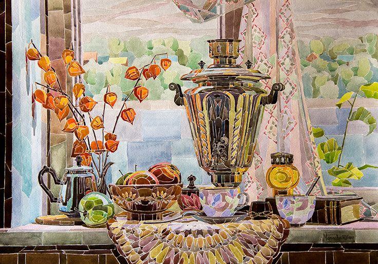 Просмотреть иллюстрацию Время пить чай из сообщества русскоязычных художников автора Юлия Маслова в стилях: Графика, нарисованная техниками: Акварель.