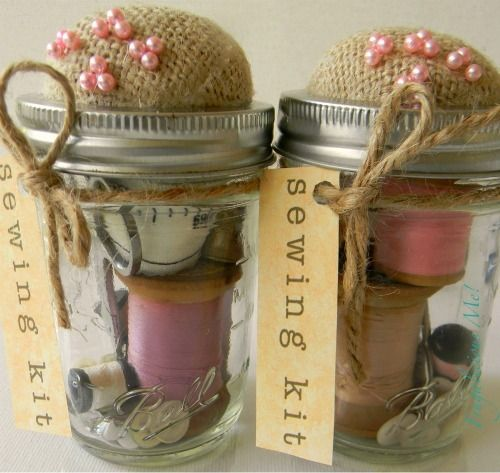 DIY: Sewing Kit  I don't remember where I saw this adorable idea, but it is so cute and so easy to do! Christmas is coming up and this could be a perfect gift for a friend or family member. All you will need is a jar, and then any kind of tools and materials you want to put in it. Have fun!