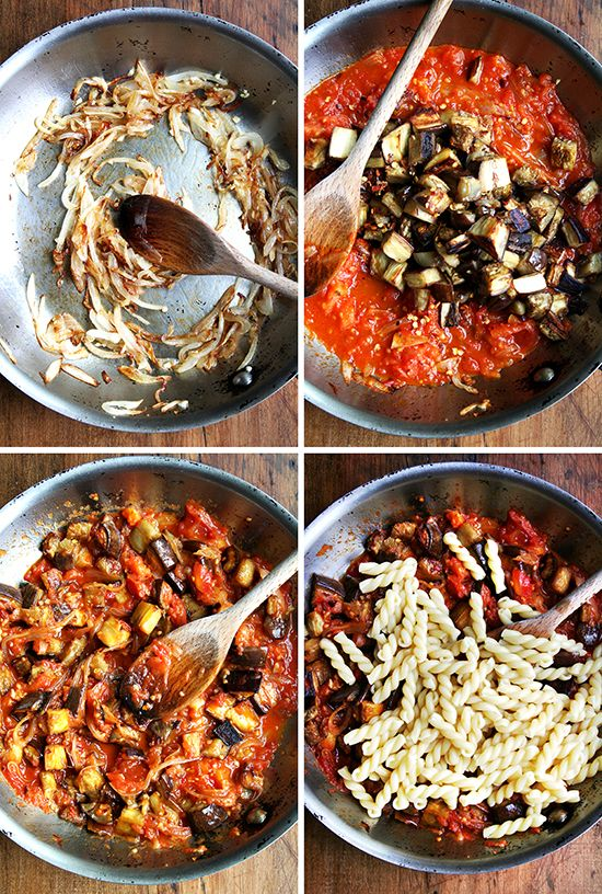 Nice! Chez Panisse Eggplant, Caramelized Onion and Tomato Pasta #recipe by @alexandracooks #vegan #8020eating