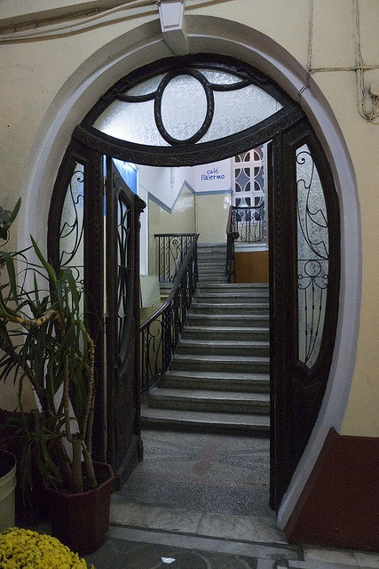 Art Nouveau door in Thessaloniki, Greece photo by The Glass Eye via Flickr. Love the upside down arch at the head of the door.