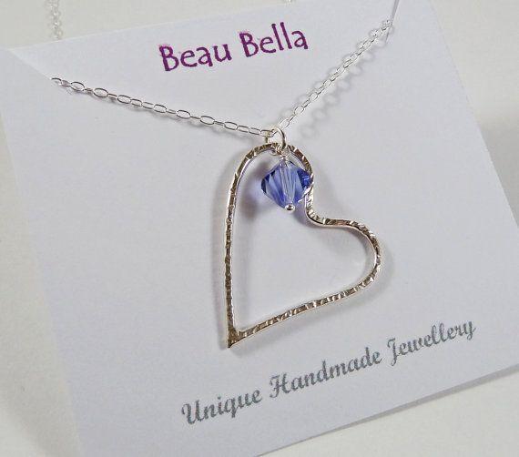 Tanzanite Pendant Long Silver Necklace December Birthstone