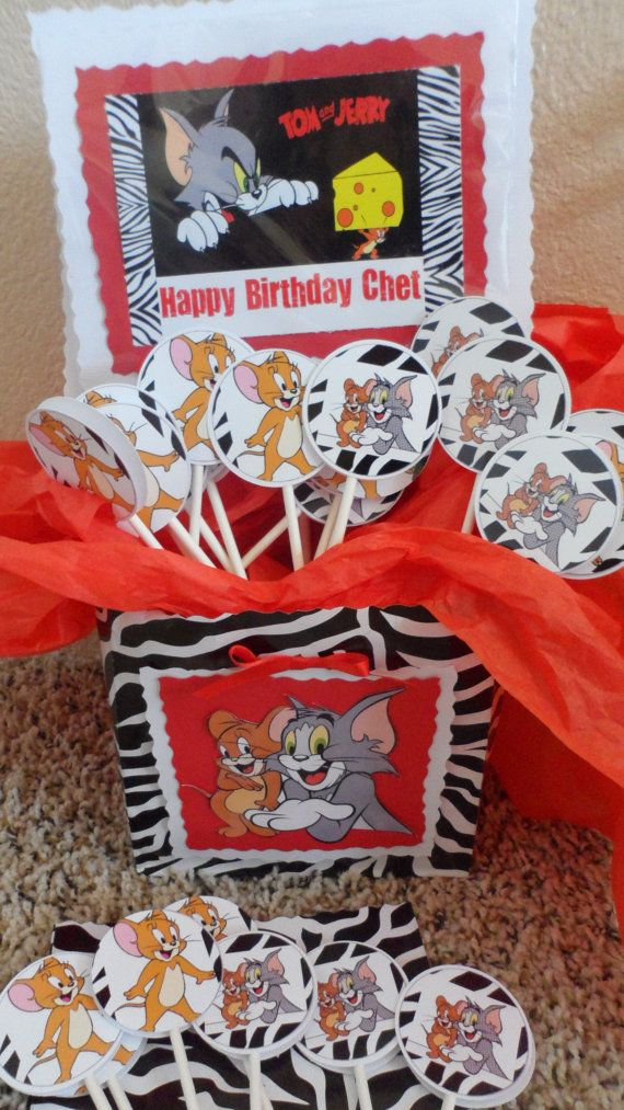 Tom and Jerry Cupcake Toppers | Tom and Jerry Birthday ...